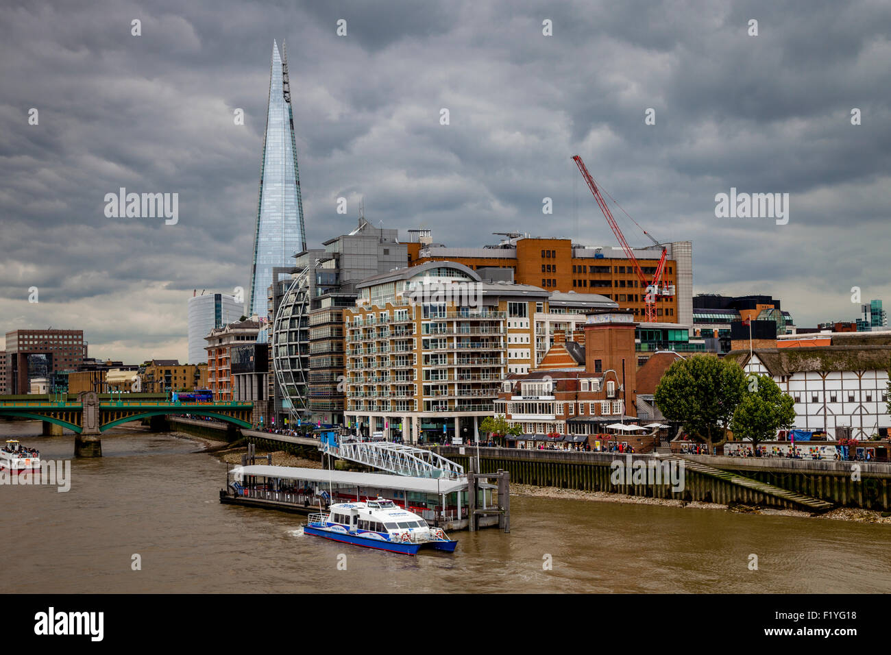 The Shard, The River Thames and Riverside Properties, London, England Stock Photo