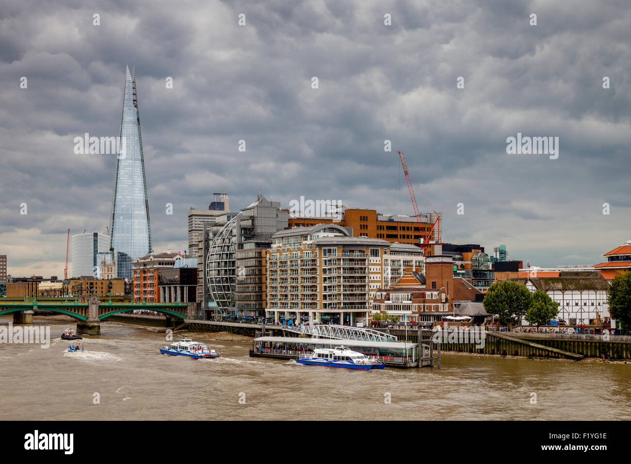 The Shard, The River Thames and Riverside Properties, London, England - Stock Image