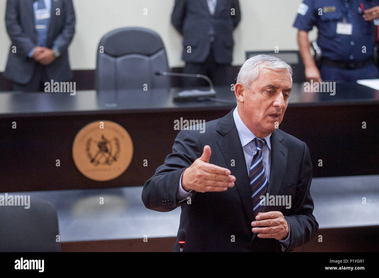 Guatemala City, Guatemala. 8th Sep, 2015. Former Guatemalan president Otto Perez Molina offers declarations at the - Stock Image
