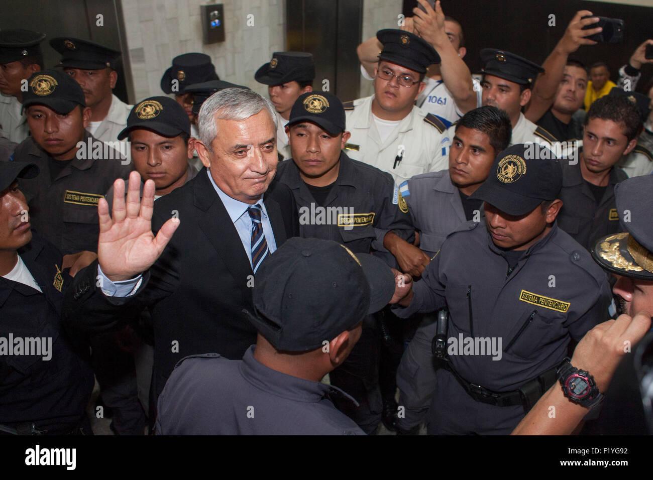 Guatemala City, Guatemala. 8th Sep, 2015. Former Guatemalan president Otto Perez Molina reacts at the end of a hearing - Stock Image