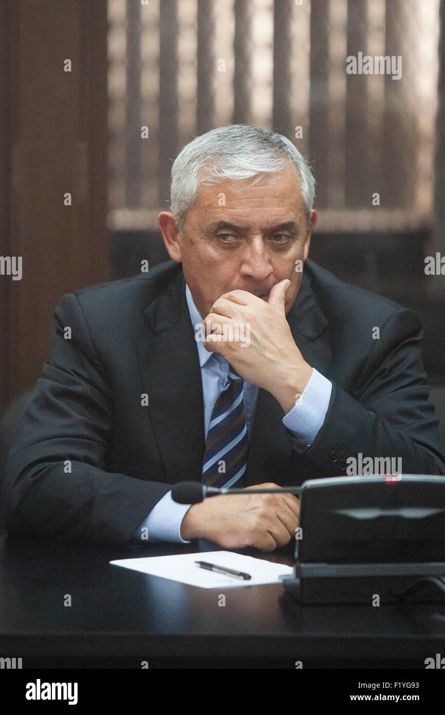 Guatemala City, Guatemala. 8th Sep, 2015. Former Guatemalan president Otto Perez Molina reacts during a hearing - Stock Image