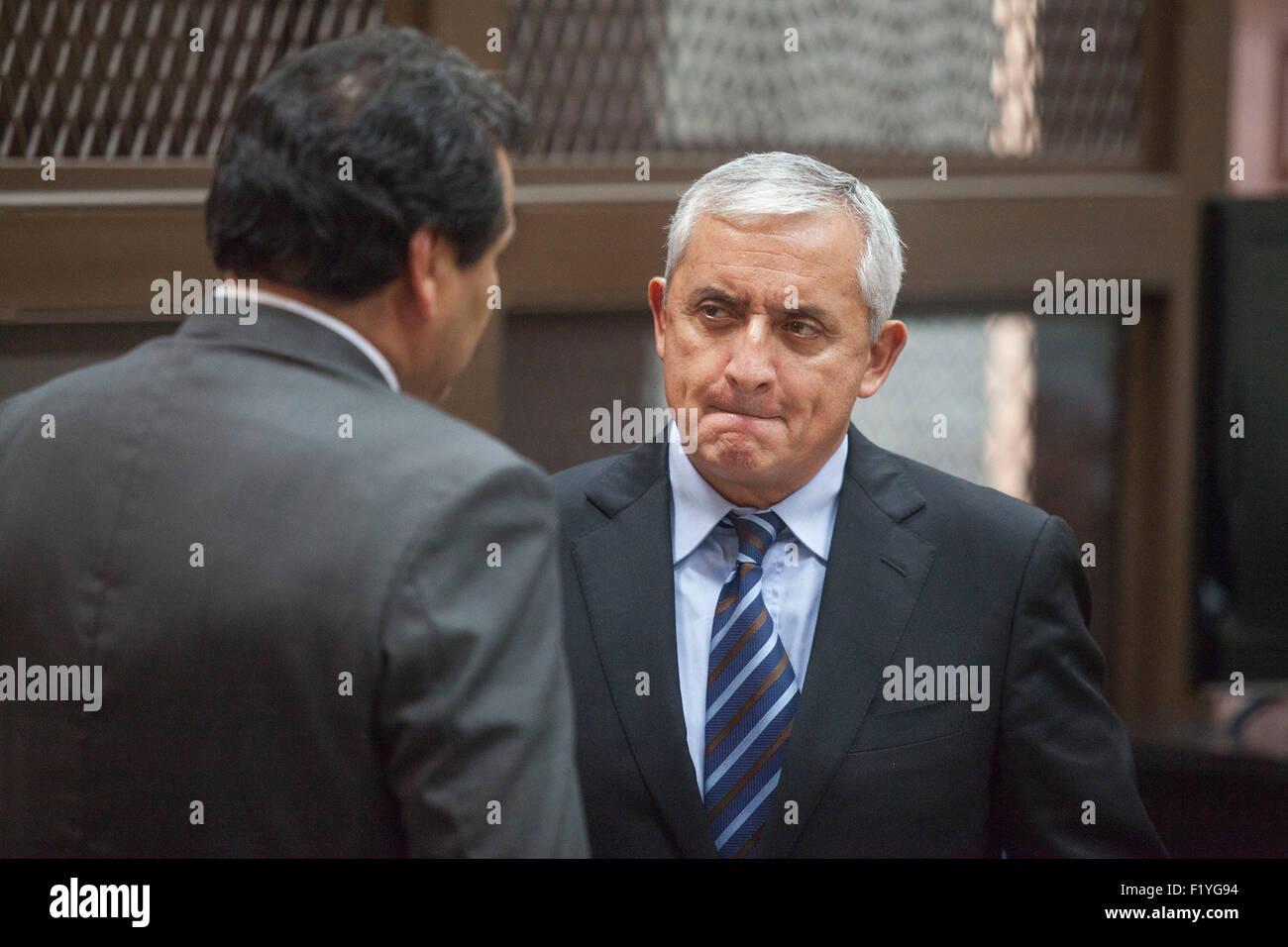 Guatemala City, Guatemala. 8th Sep, 2015. Former Guatemalan president Otto Perez Molina(R) reacts during a hearing - Stock Image