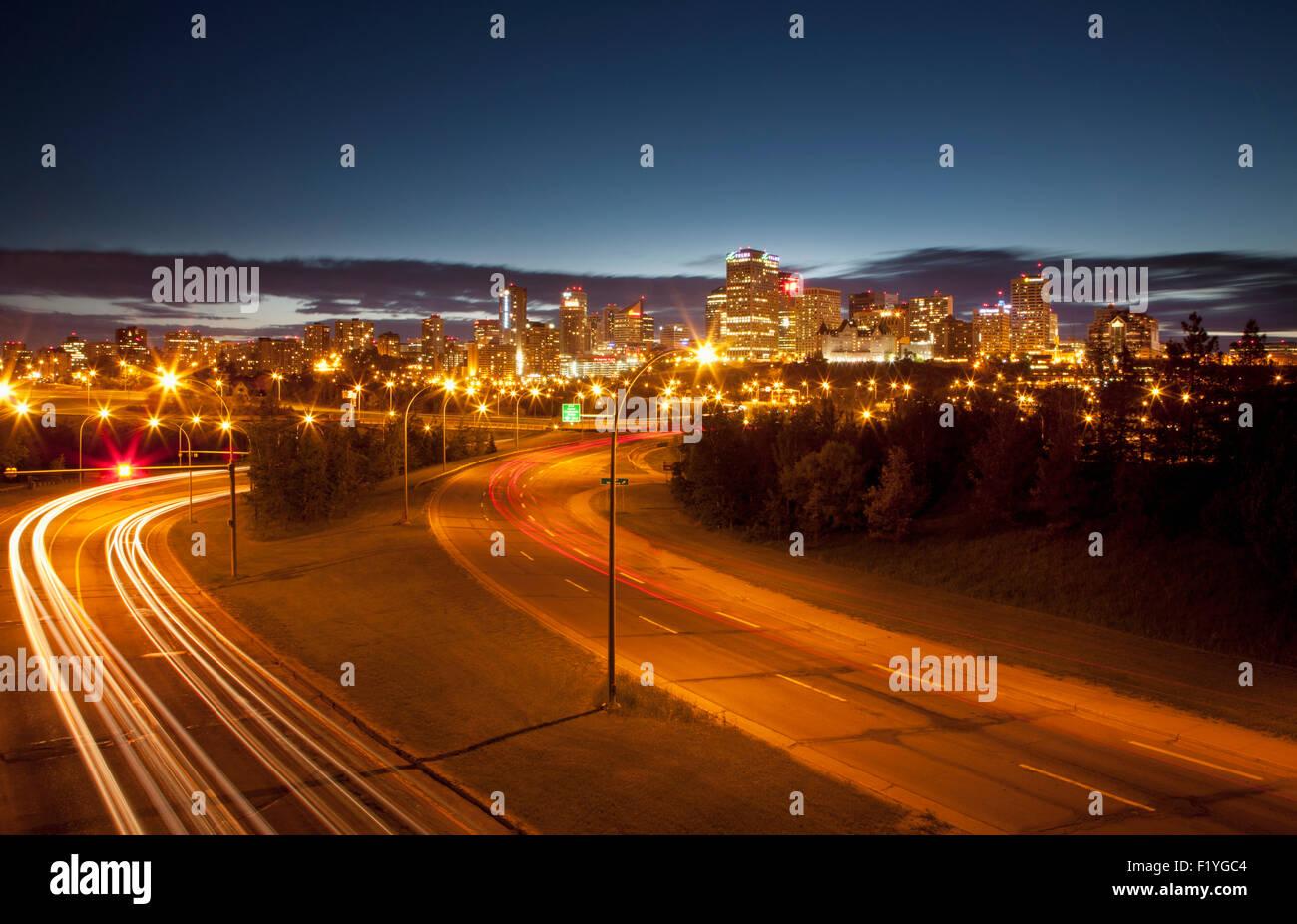 Road,Street Light,Light Trail,Edmonton,City - Stock Image