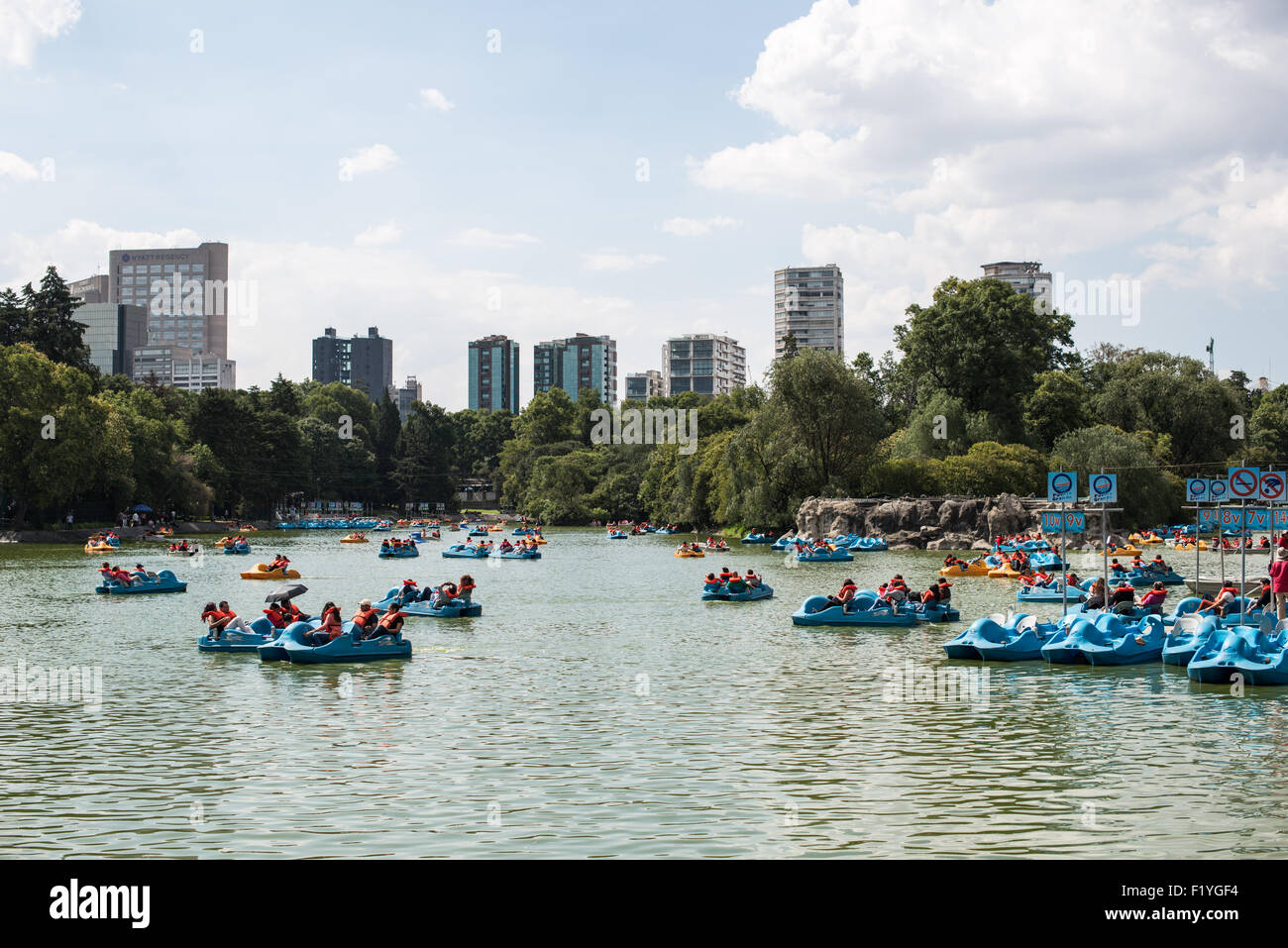 MEXICO CITY, Mexico - Visitors use the padlde boats on the lake in Basque de Chapultepec, a large and popular public Stock Photo