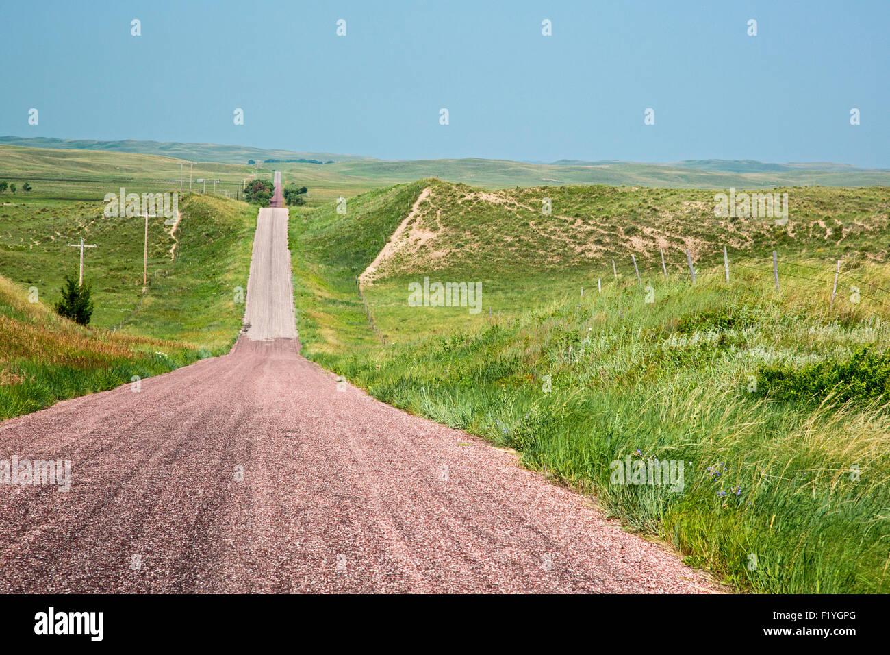 Valentine, Nebraska - A rural road in the Nebraska sandhills. - Stock Image
