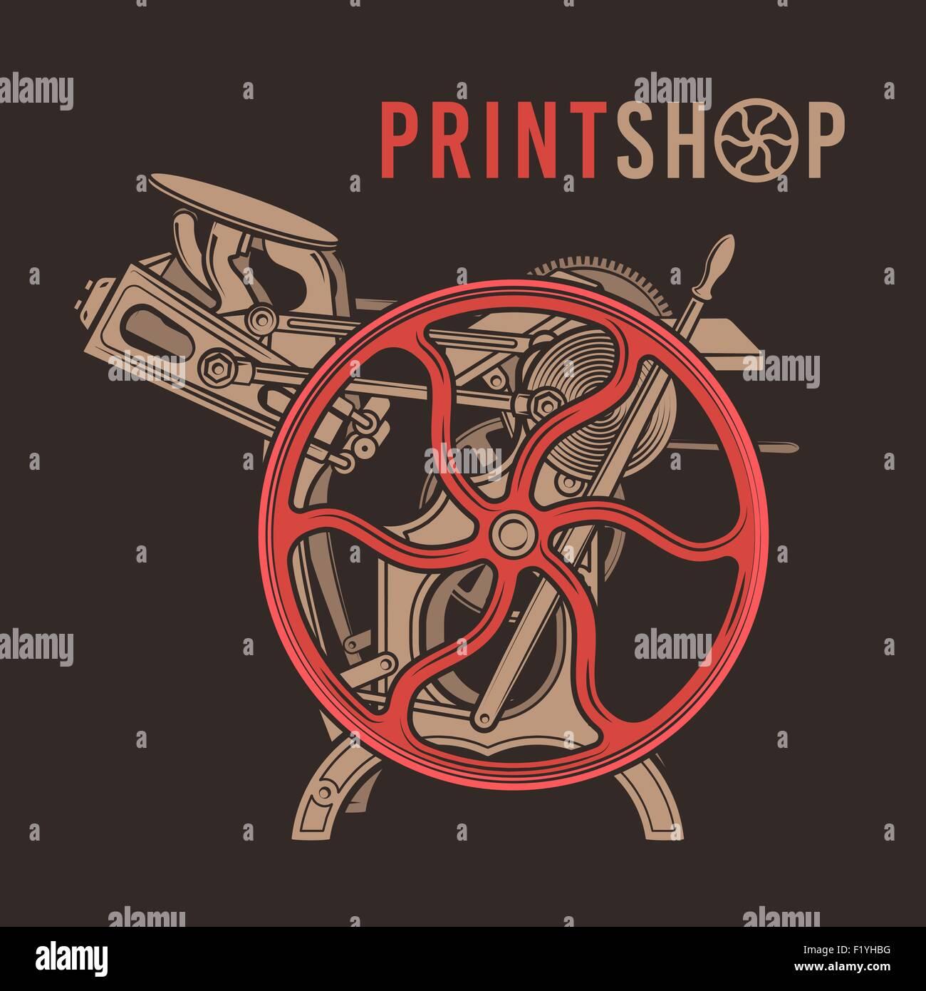 Letterpress overprint vector design  Vintage print shop logo  Old