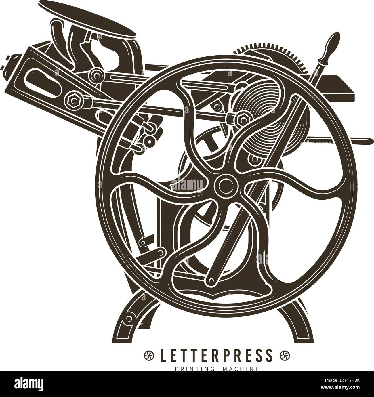 letterpress printing machine vector illustration vintage print logo