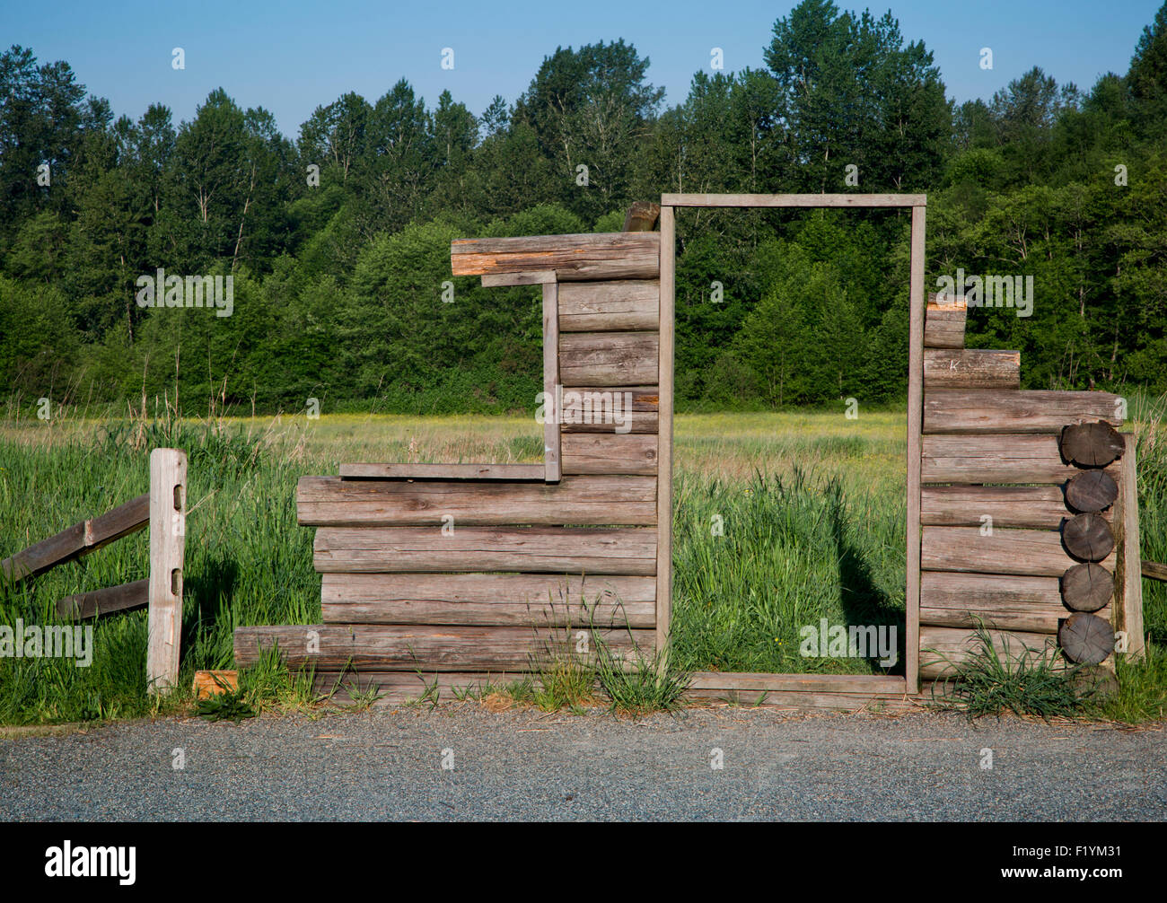 Canada,Incomplete,Log Cabin,Tynehead Park - Stock Image