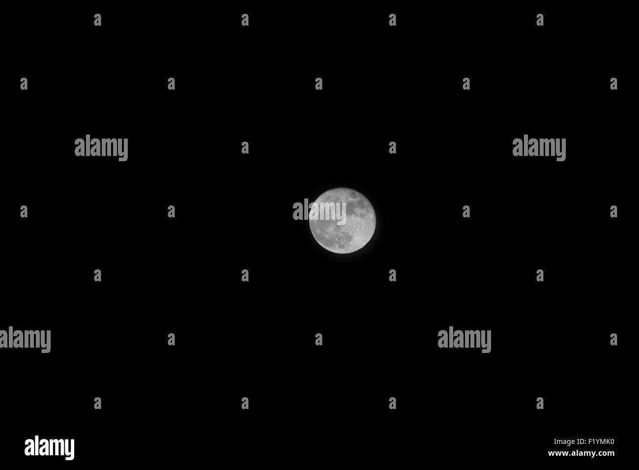 Night,Canada,Full Moon,Black,Sky - Stock Image