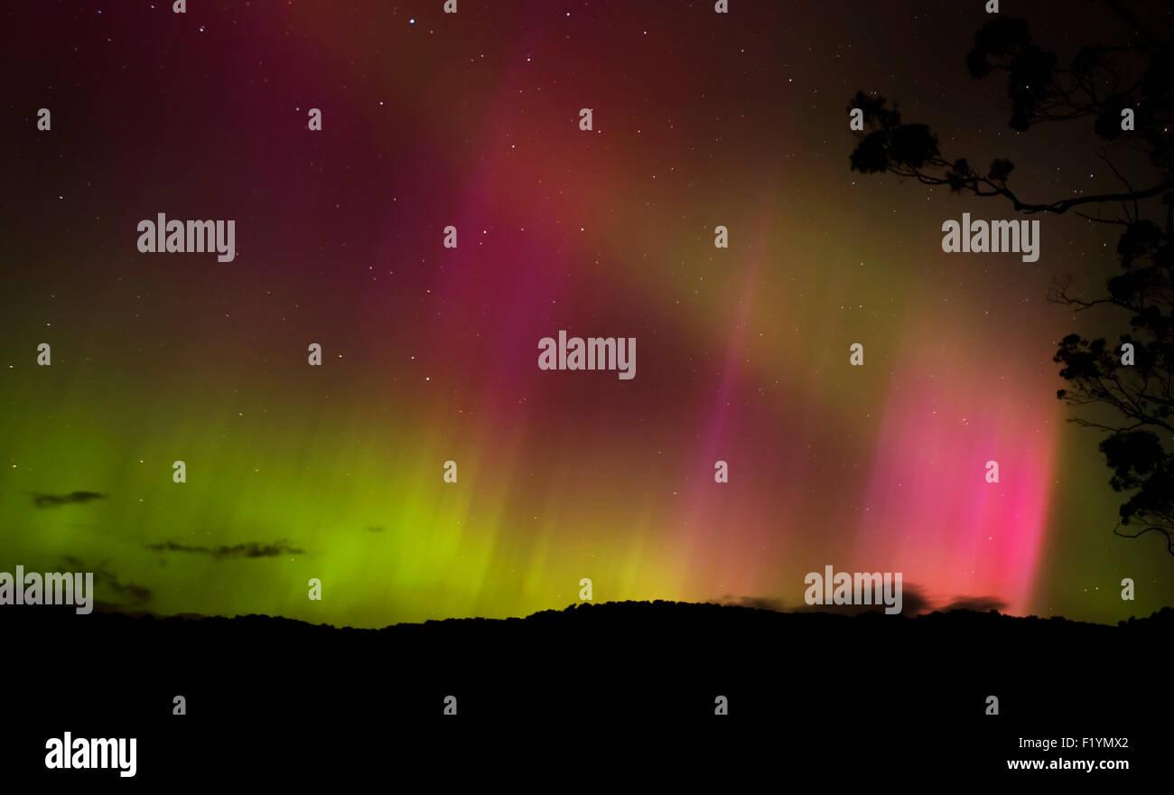Night,Green,Red,Scenic,Aurora Australis - Stock Image