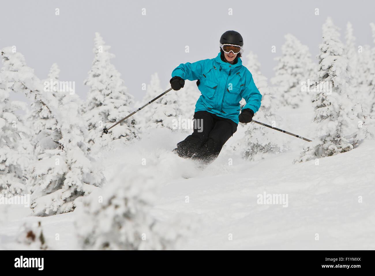Canada,Skiing,Woman,Whistler Mountain - Stock Image