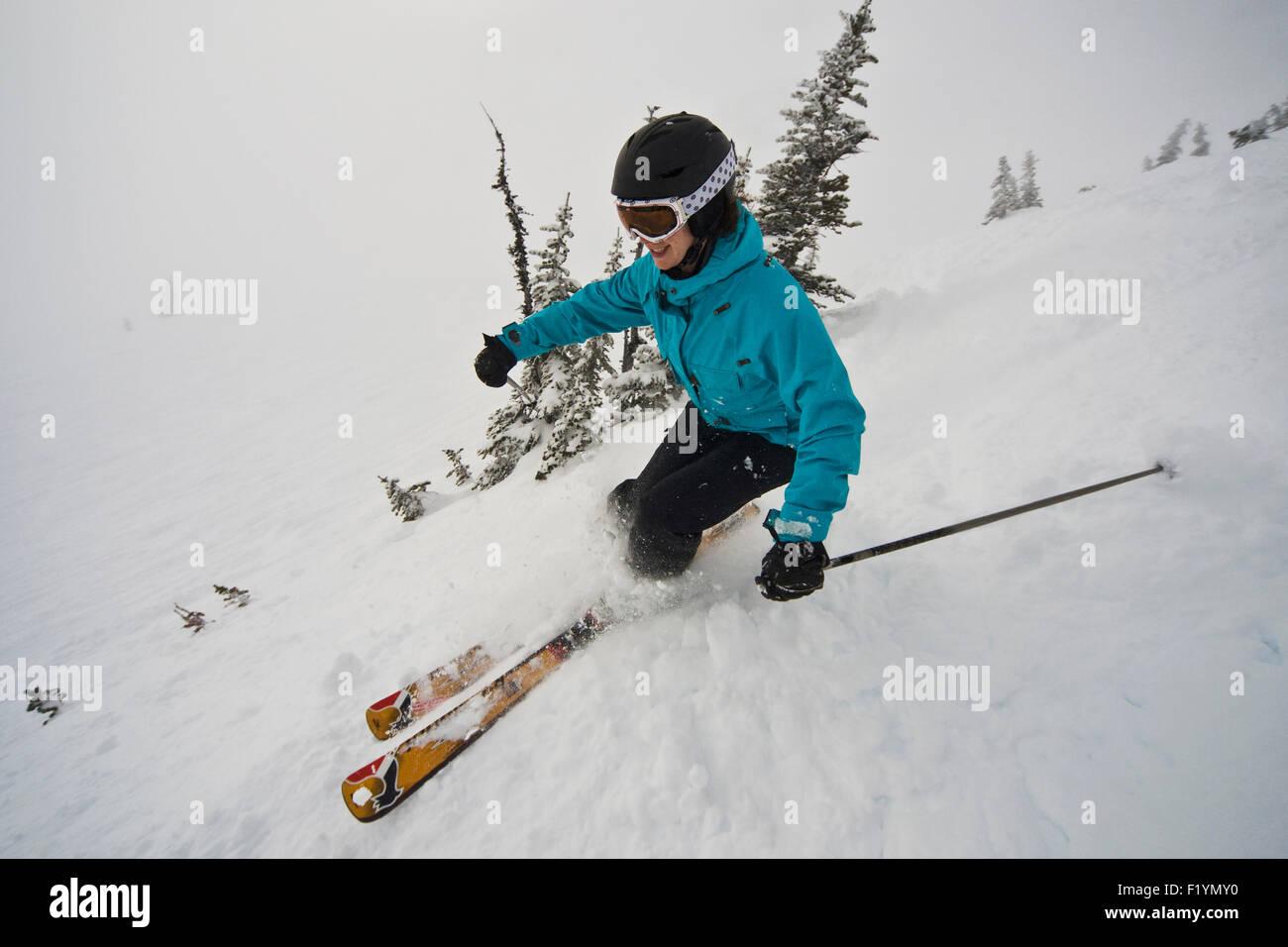 Canada,Skiing,Woman,Smiling,Whistler Mountain - Stock Image