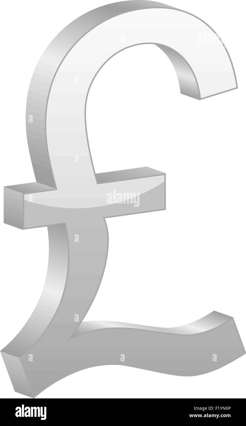 Grey British Pound Symbol On A White Background Vector Illustration