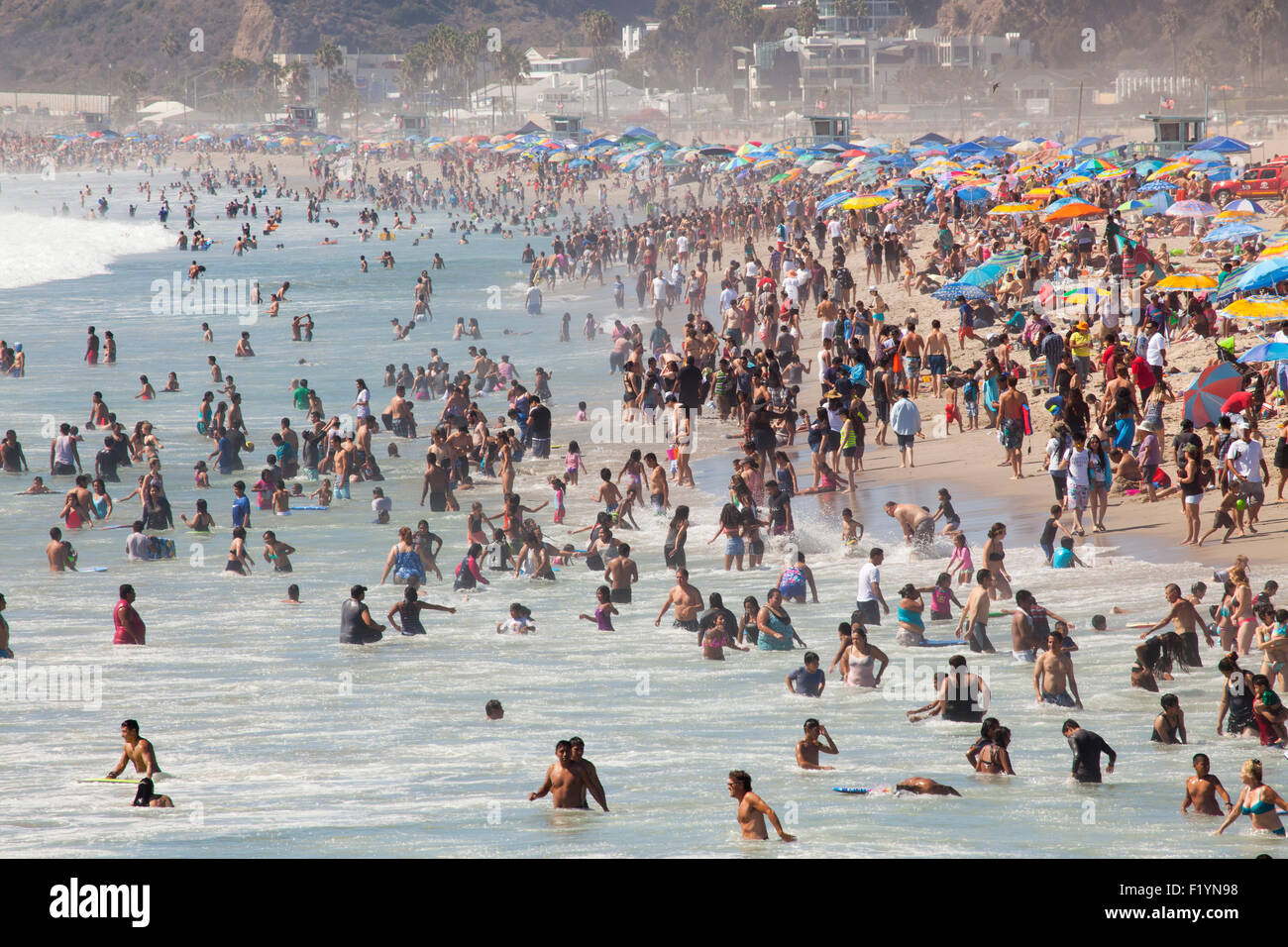 View from the Santa Monica Pier, a crowded, hot Labor Day - Monday September 7, 2015 - Santa Monica, Los Angeles Stock Photo