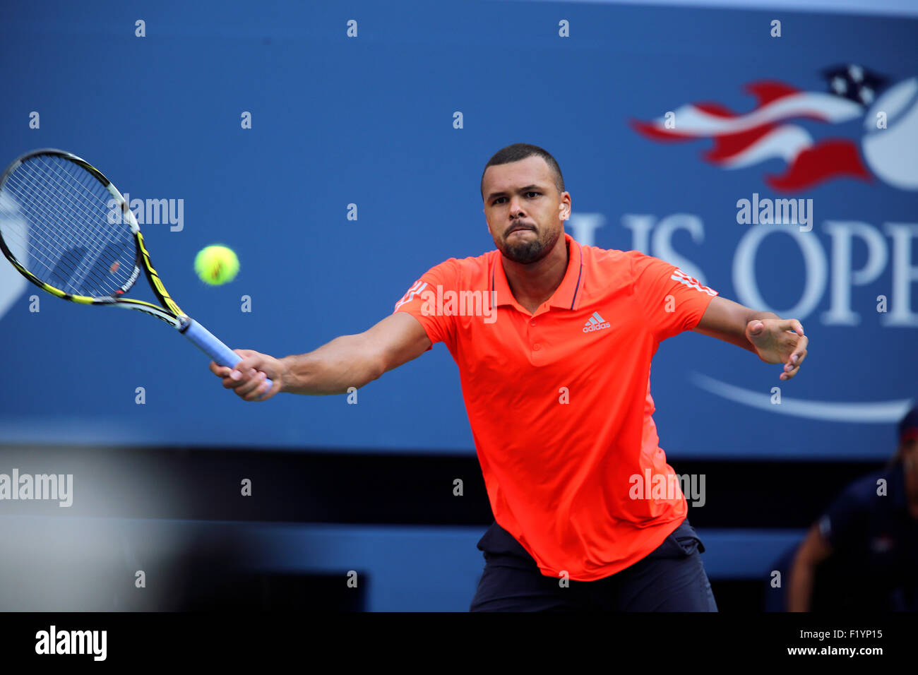 New York, USA. 8th September, 2015. Jo-Wilfred Tsonga of France during his quarterfinal match against Marin Cilic - Stock Image