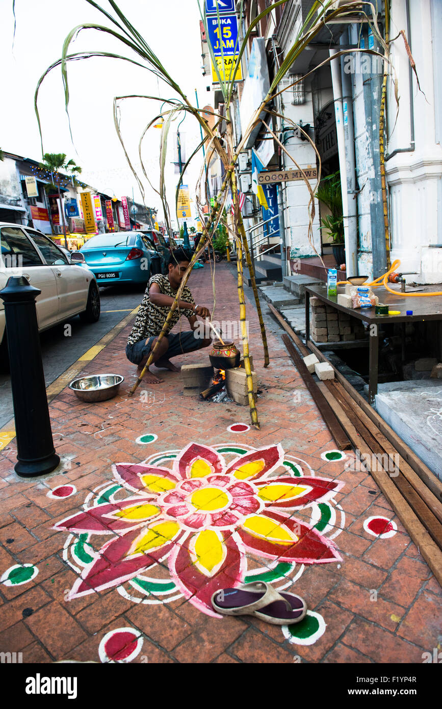 Rangoli street paintings in Little India in Georgetown, Penang. Stock Photo