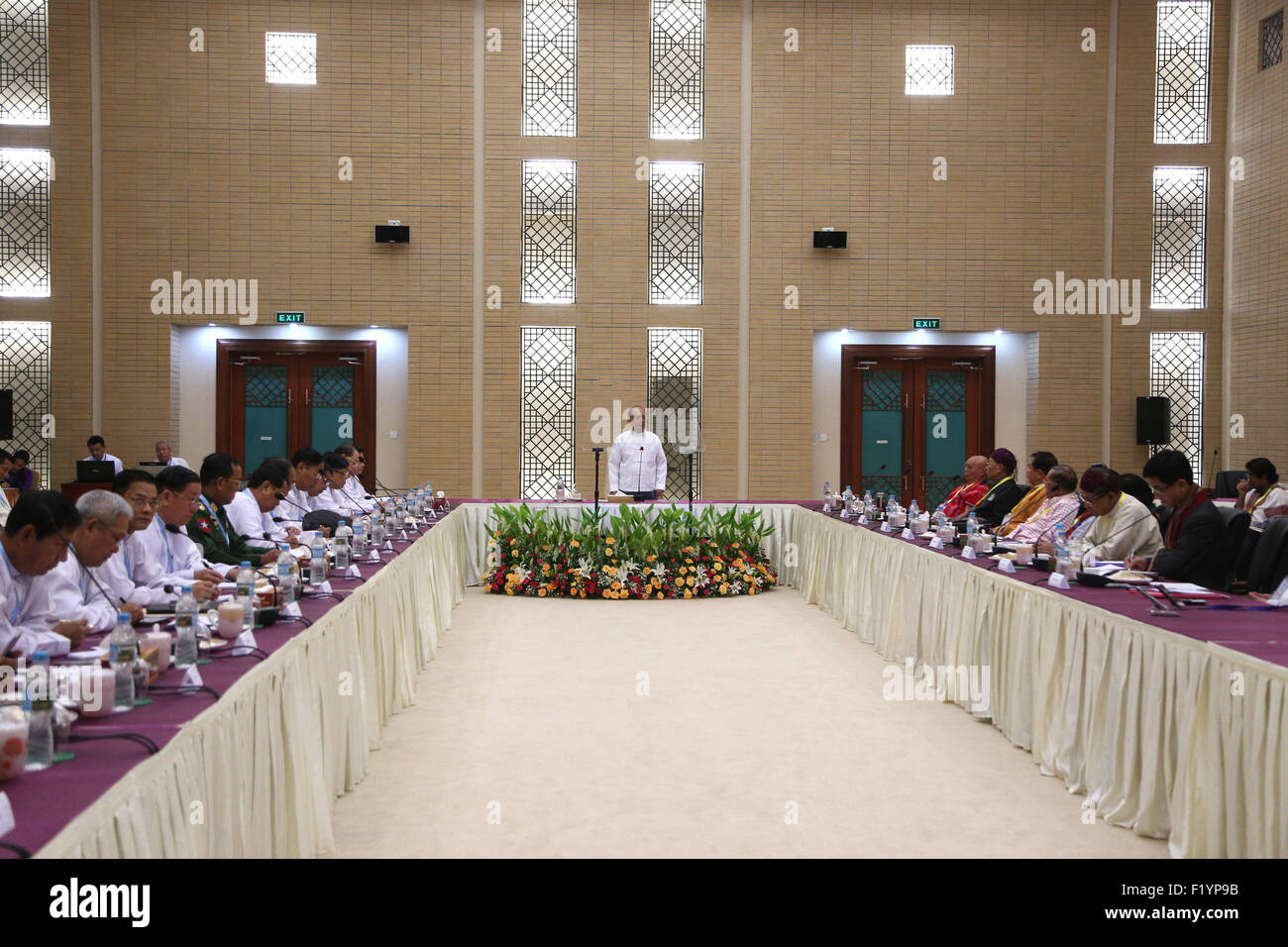 Nay Pyi Taw, Myanmar. 9th Sep, 2015. Myanmar's President U Thein Sein (C) speaks during a meeting with nine - Stock Image