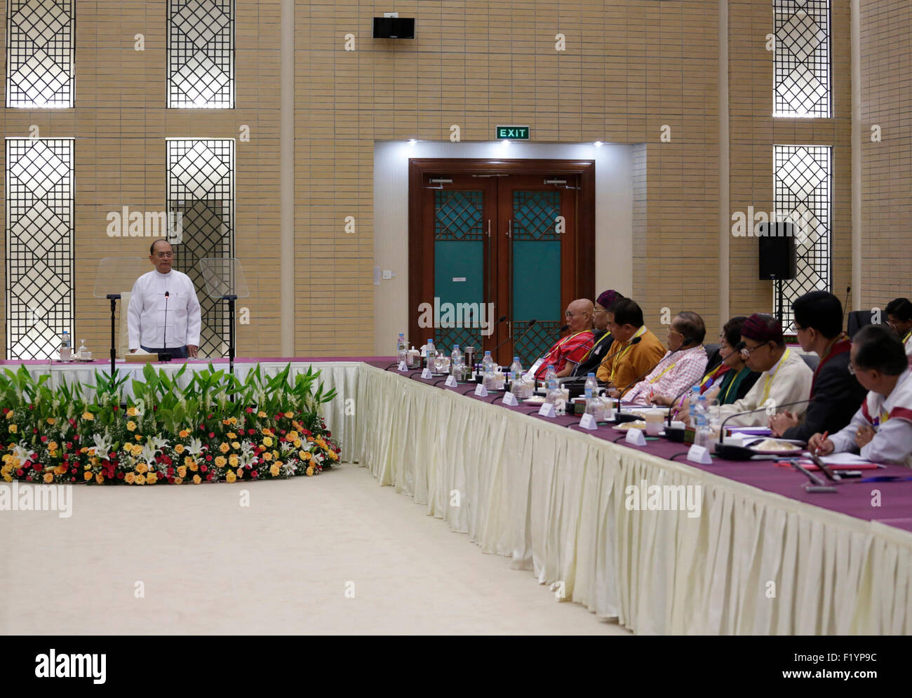 Nay Pyi Taw, Myanmar. 9th Sep, 2015. Myanmar's President U Thein Sein (L) speaks during a meeting with nine - Stock Image