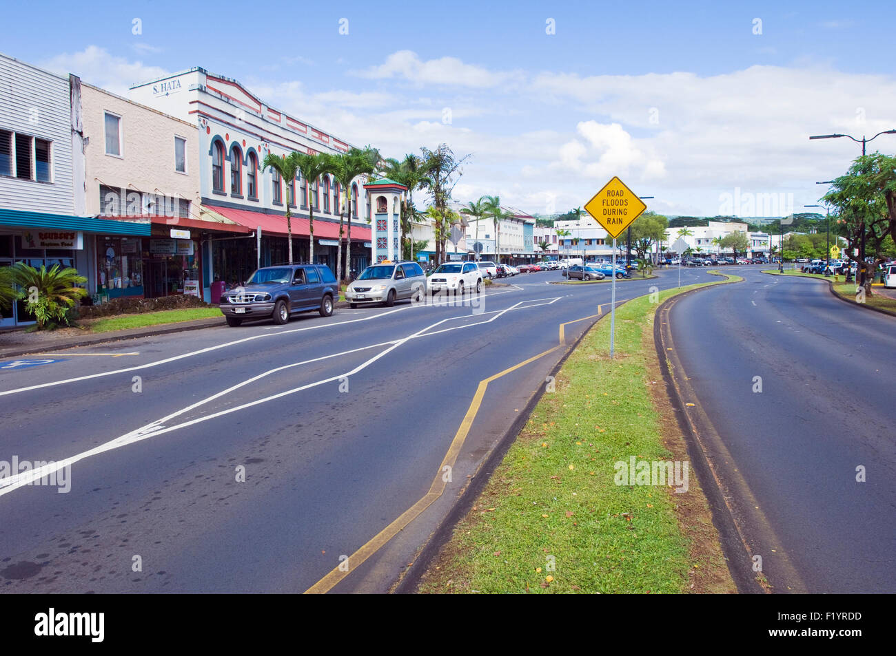 Downtown Hilo looking north along Kamehameha Avenue - Stock Image