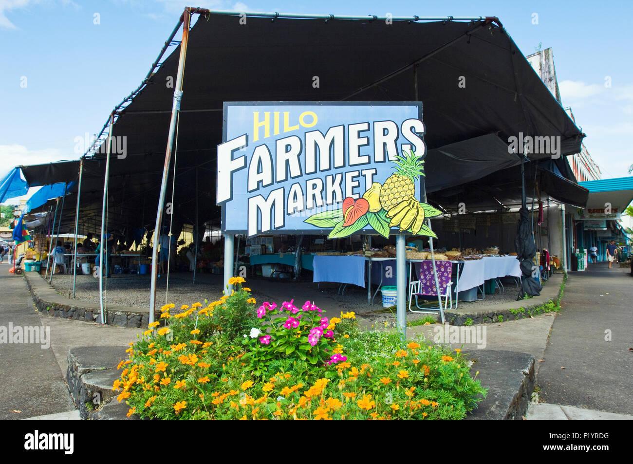 Hilo Farmers market in Hilo, Hawaii - Stock Image