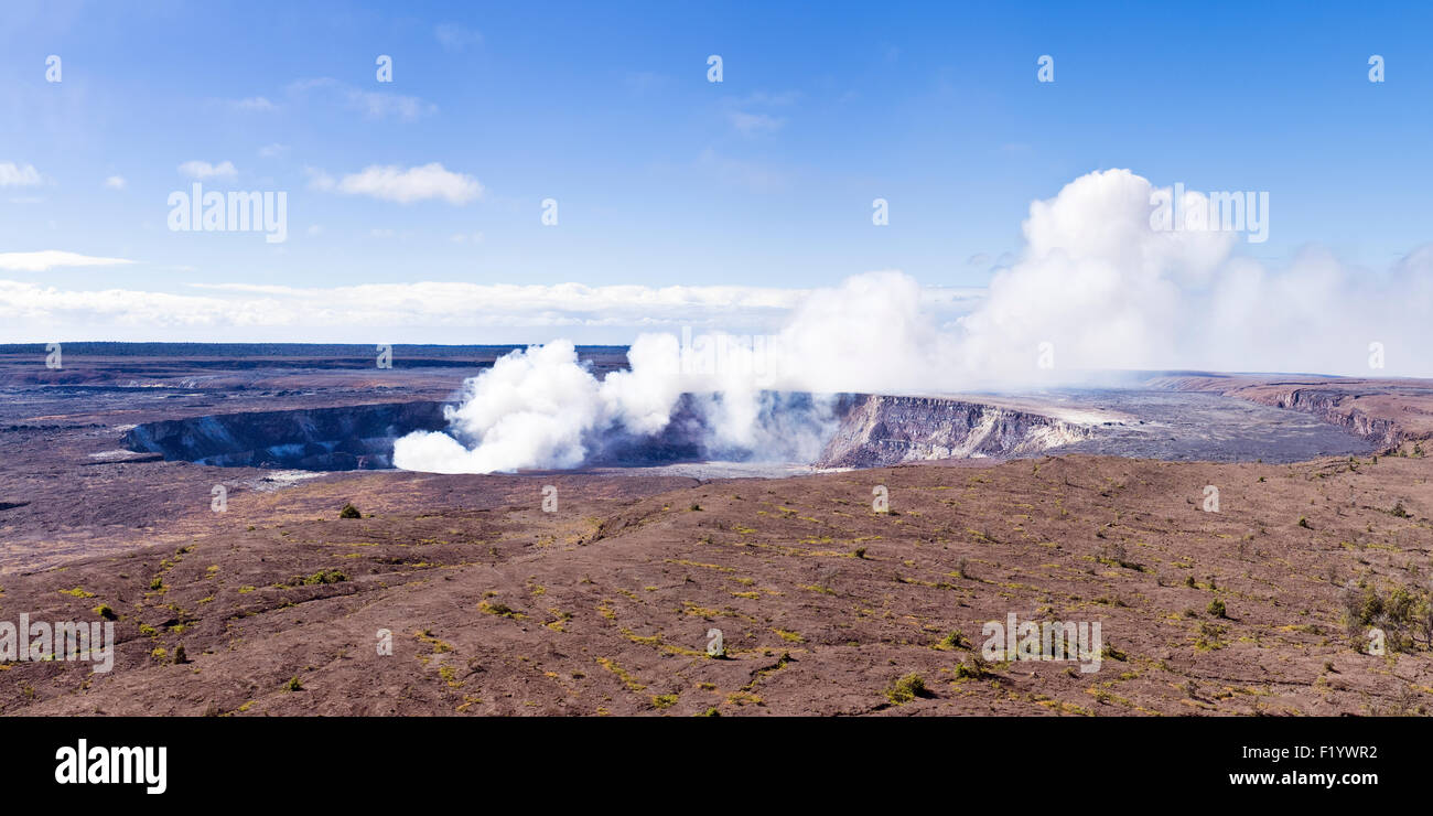 Panorama of Halemaumau crater volcano during an active phase - Stock Image