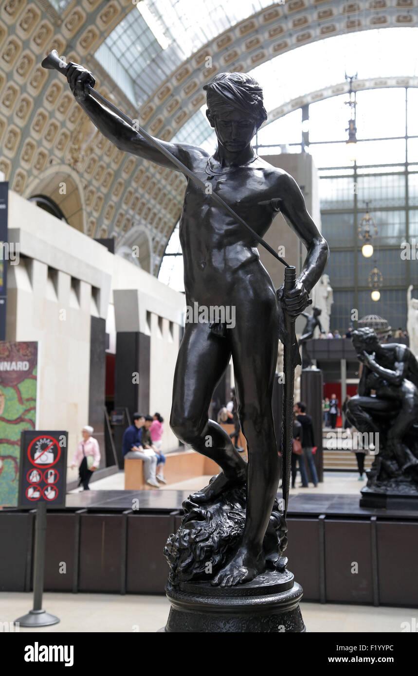 David 1872 Bronze Statue By Antonin Mercié 1854 1916 Stock