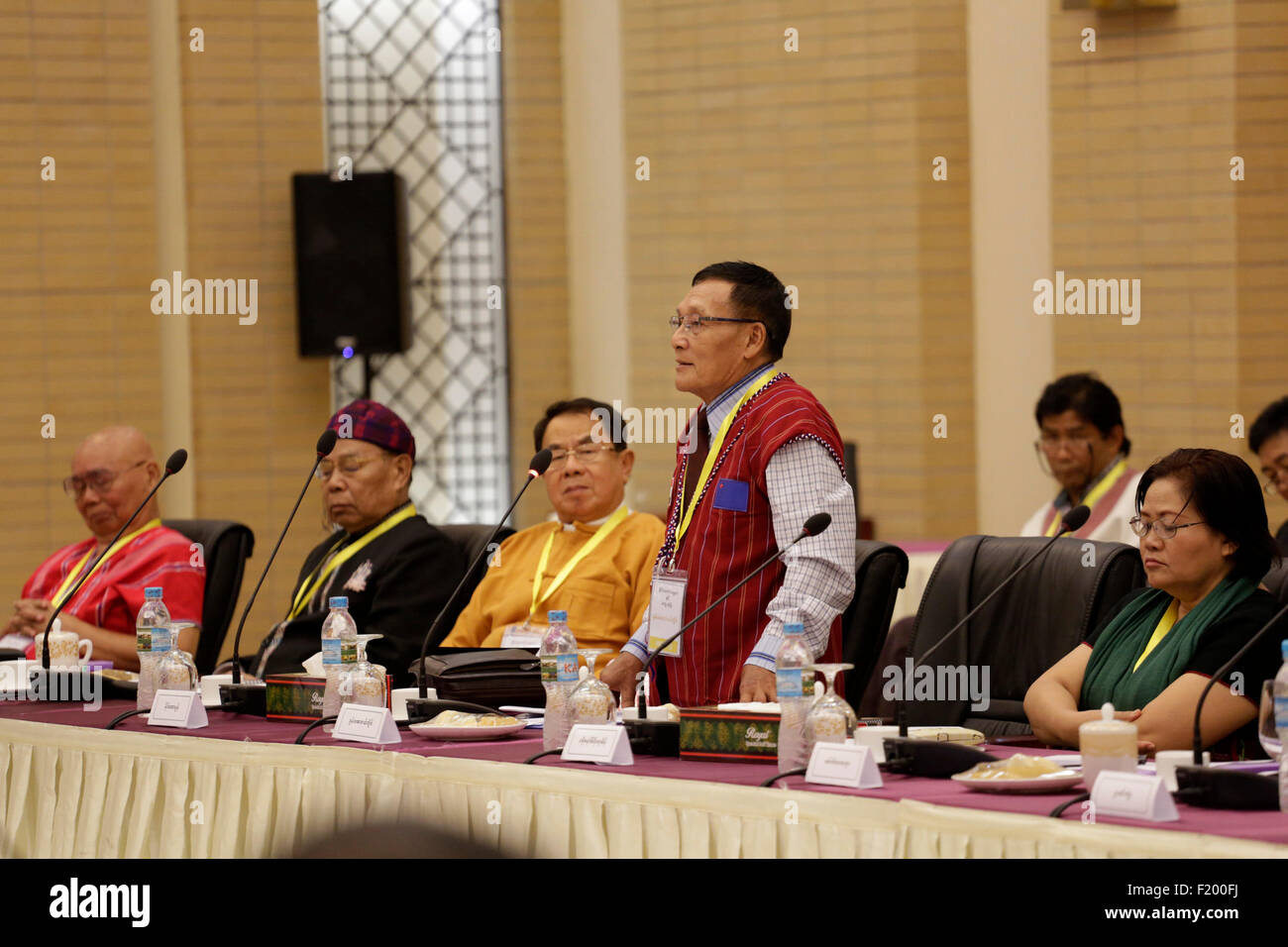 Nay Pyi Taw, Myanmar. 9th Sep, 2015. President of Karenni National Progressive Party Khun Abel Tweed (2nd R) speaks - Stock Image