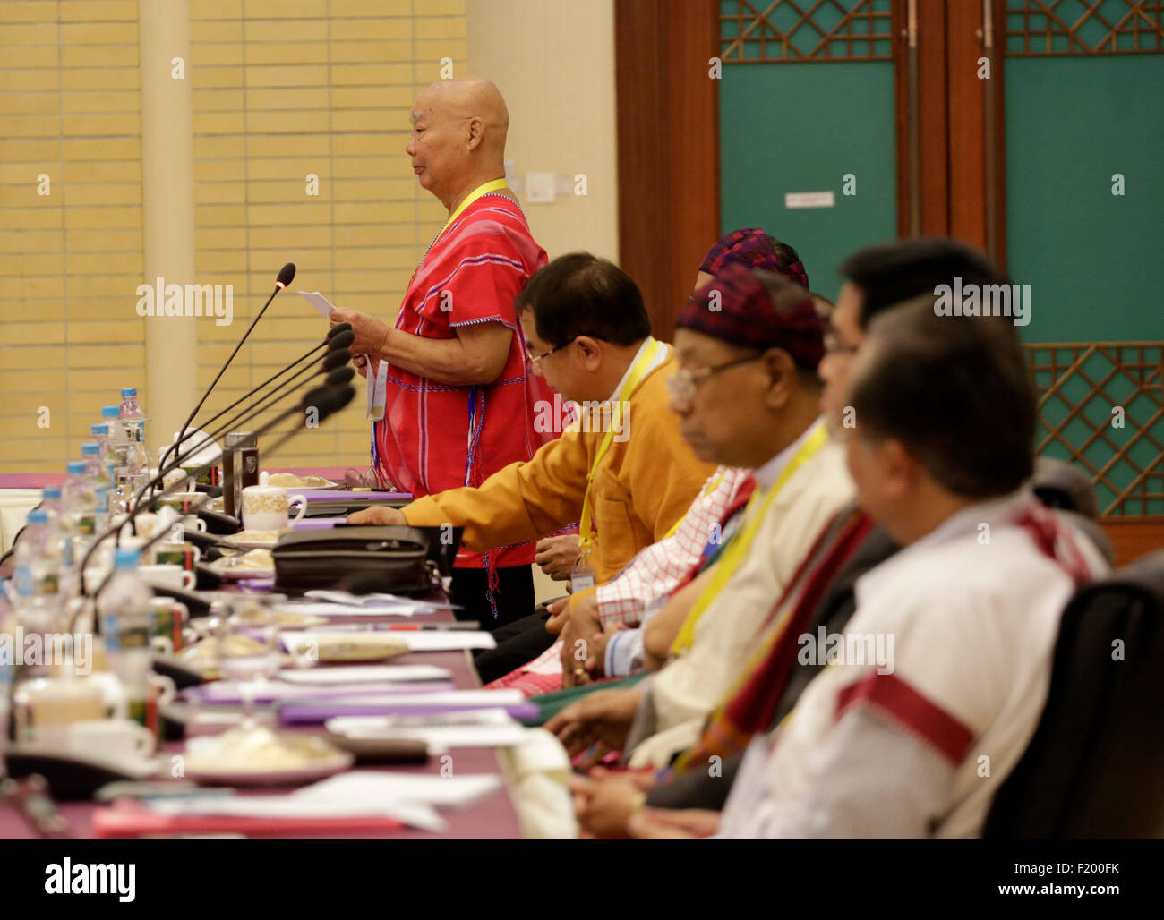 Nay Pyi Taw, Myanmar. 9th Sep, 2015. KNU Chairman Saw Mutu Sae Po (1st L) speaks during a meeting of Myanmar President - Stock Image