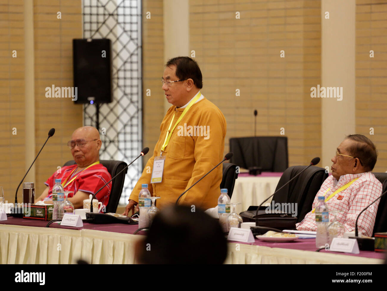 Nay Pyi Taw, Myanmar. 9th Sep, 2015. Shan State Progress Party (SSPP)'s patron Maj-Gen Say Htin (C) speaks during - Stock Image