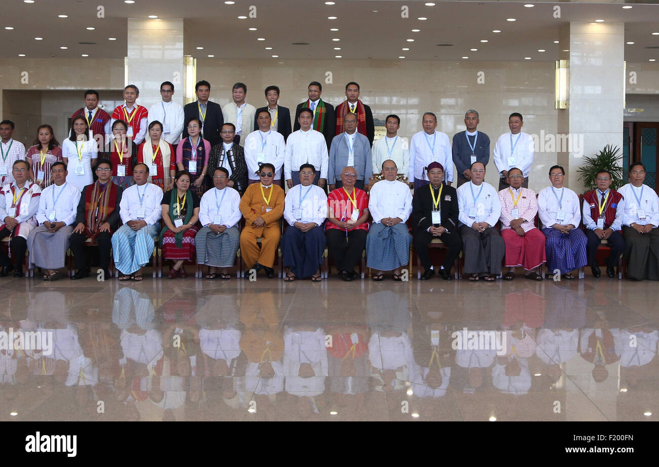 Nay Pyi Taw, Myanmar. 9th Sep, 2015. Myanmar's President U Thein Sein (7th R, front) and members of ethnic armed - Stock Image
