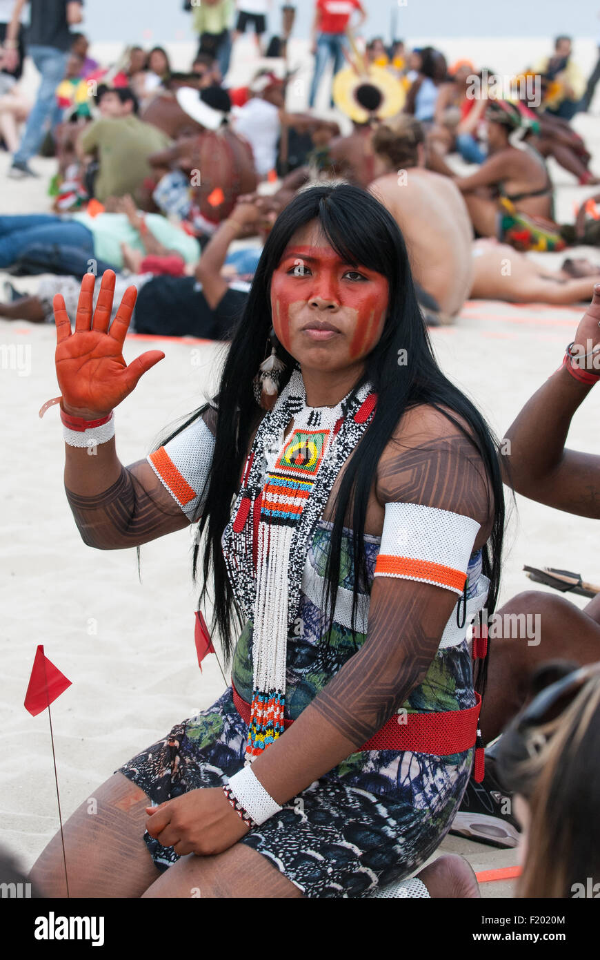 Mayalu Waura Txucarramae, an indigenous activist, at the People's Summit at the United Nations Conference on - Stock Image