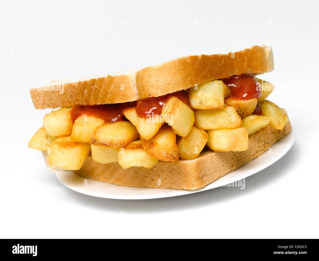 Chip Sandwich on a plate isolated - Stock Image