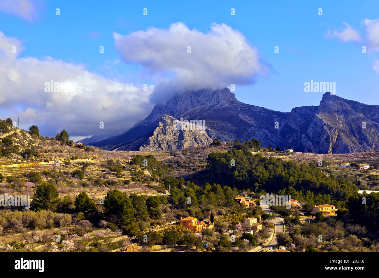 Cloud cover over Serra del Ferrer mountains near Tarbena in the Alicante Province of Spain - Stock Image