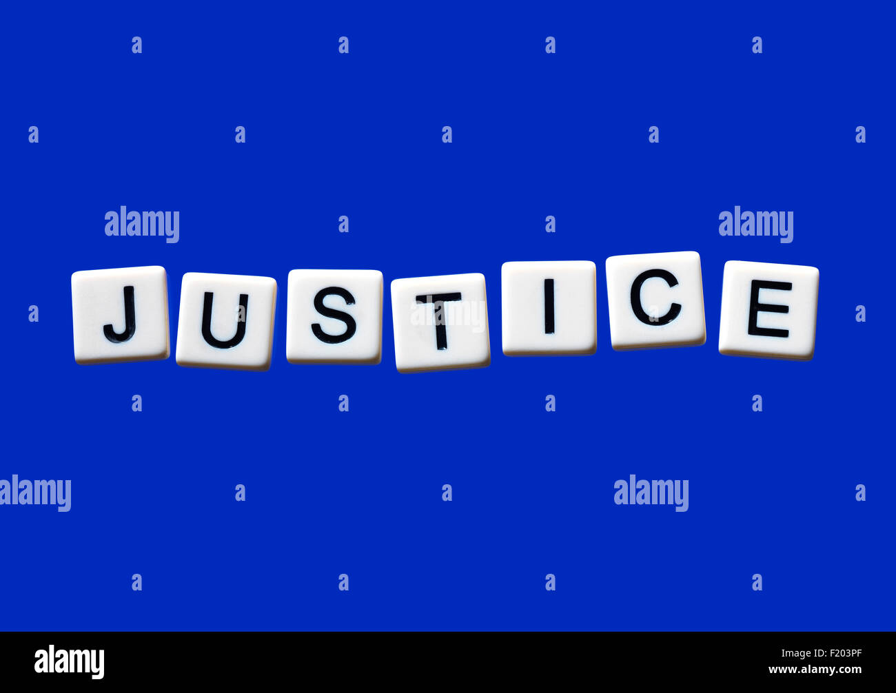 Justice highlighted on white blocks - Stock Image