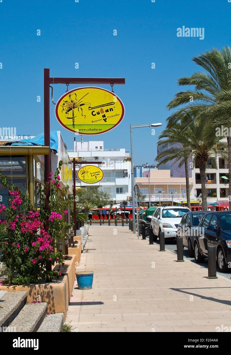 Cuban Bar sign in Can Pastilla on a sunny summer day on July 27, 2015 in Mallorca, Balearic islands, Spain. - Stock Image