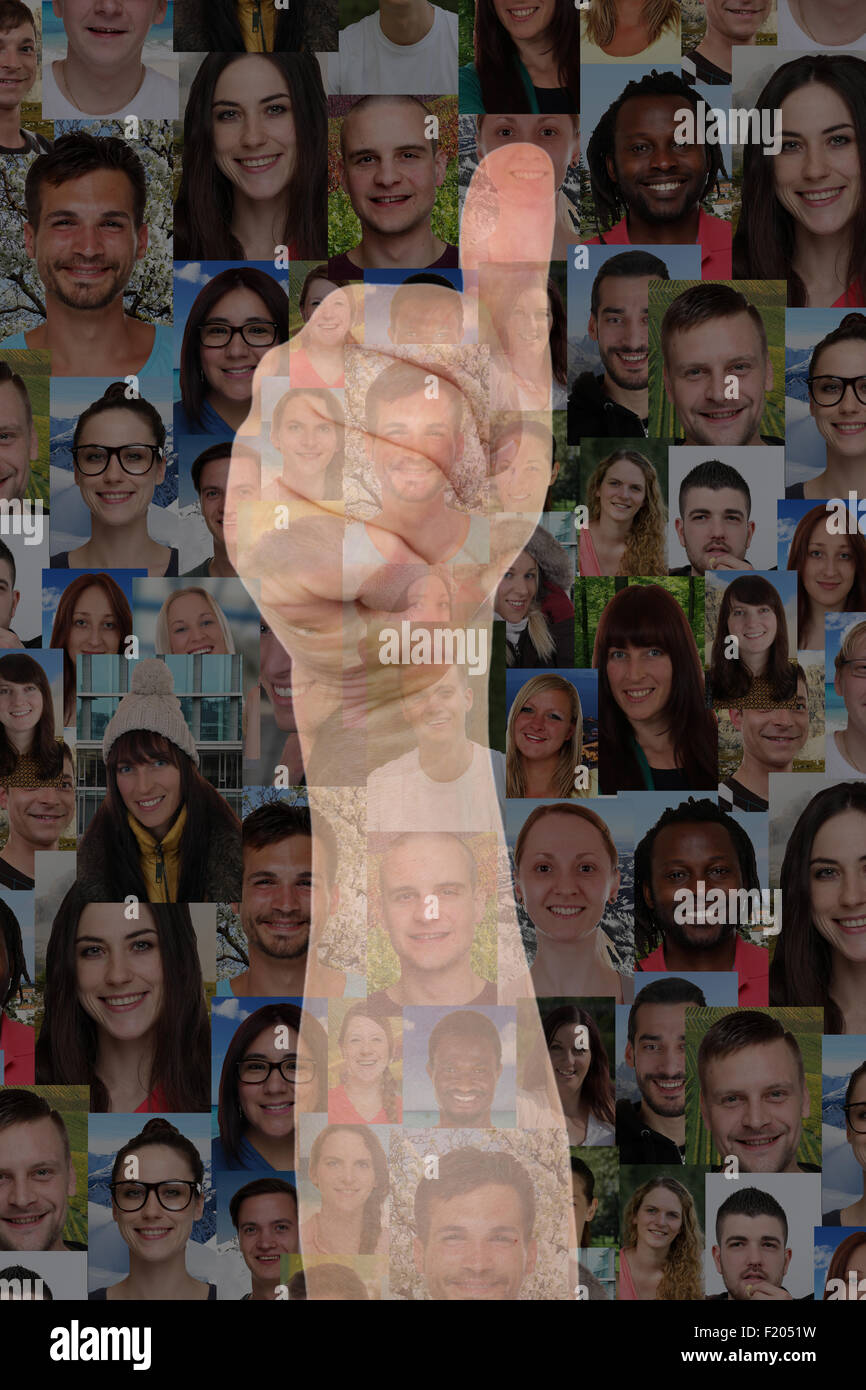 Concept success thumbs up sign with group of people background - Stock Image
