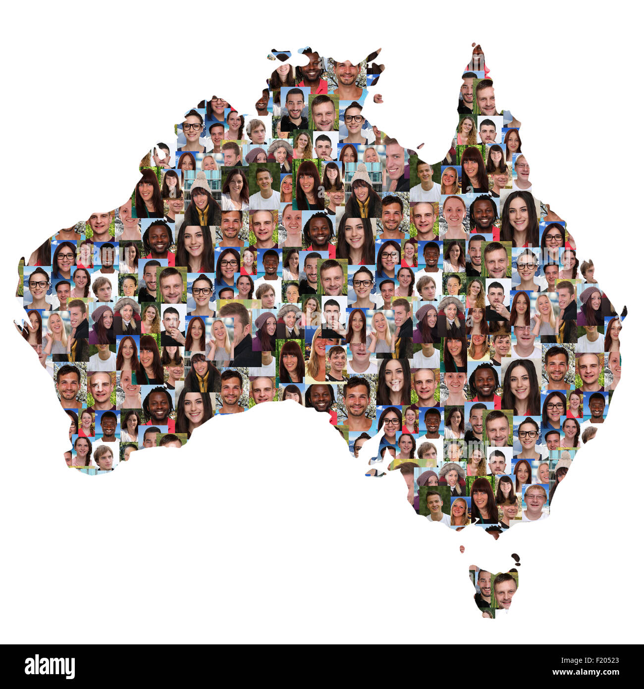 Map Of Young Australia.Australia Map Multicultural Group Of Young People Integration Stock