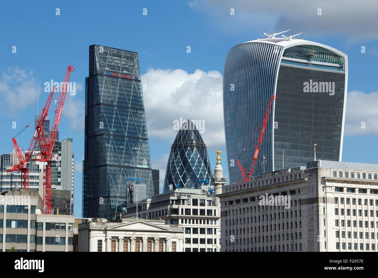 The City of London skyline including the 'Cheesegrater', the 'Gherkin' and the 'Walkie Talkie' - Stock Image