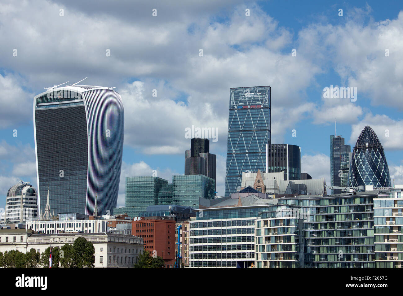The City of London skyline including the 'Walkie Talkie', the 'Cheesegrater' and the 'Gherkin' - Stock Image