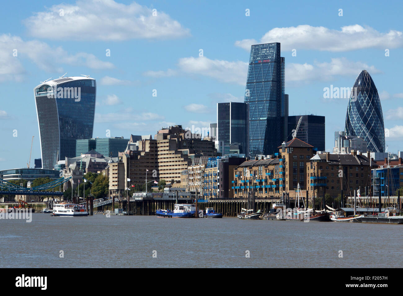 The City of London skyline from the River Thames including the 'Walkie Talkie', the 'Cheesegrater' - Stock Image