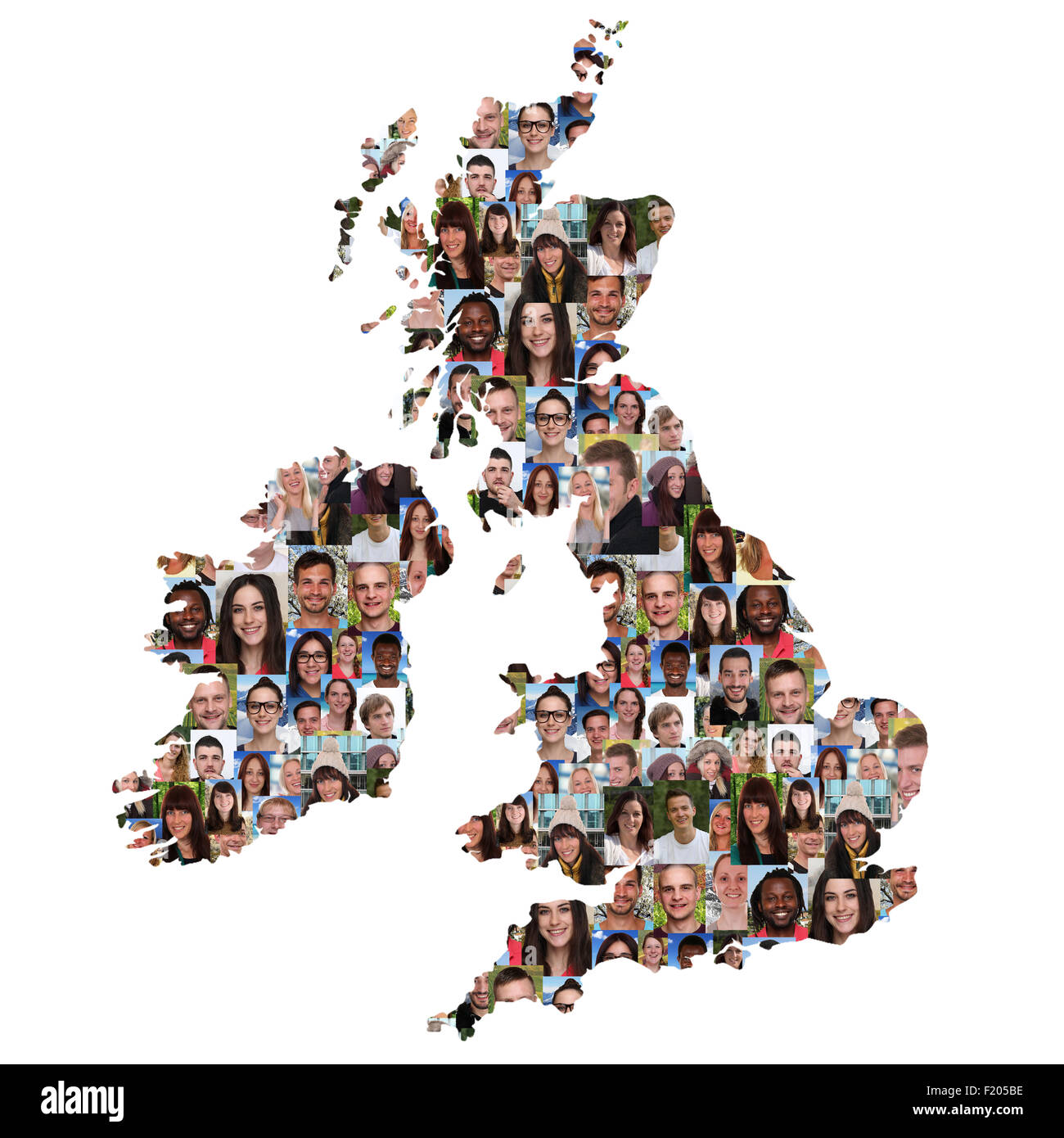 Great Britain and Ireland map multicultural group of young people integration diversity isolated - Stock Image