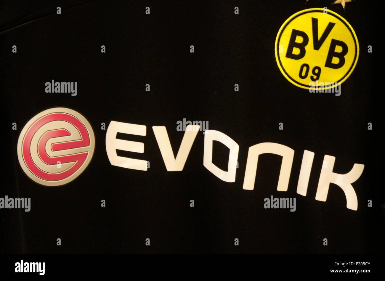Markenname: 'BVB Borussia Dortmund' und 'Evonik', Berlin. - Stock Image