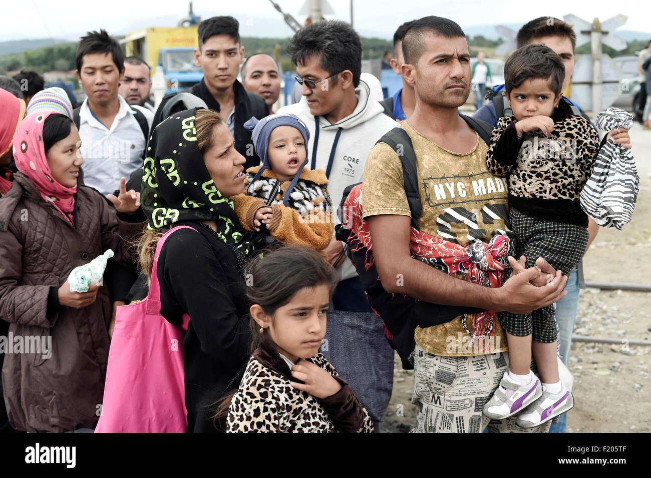 Greece/Macedonia border Idomeni/Gevgelija  September, 08 2015 - thousands of migrants were pouring over the frontier - Stock Image
