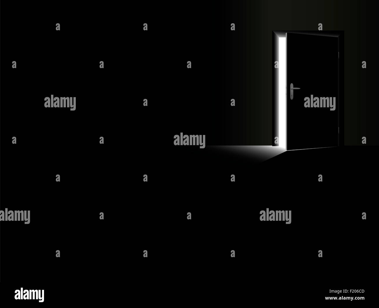 Darkness - black room with a half open door and a glimmer of light coming in. - Stock Image
