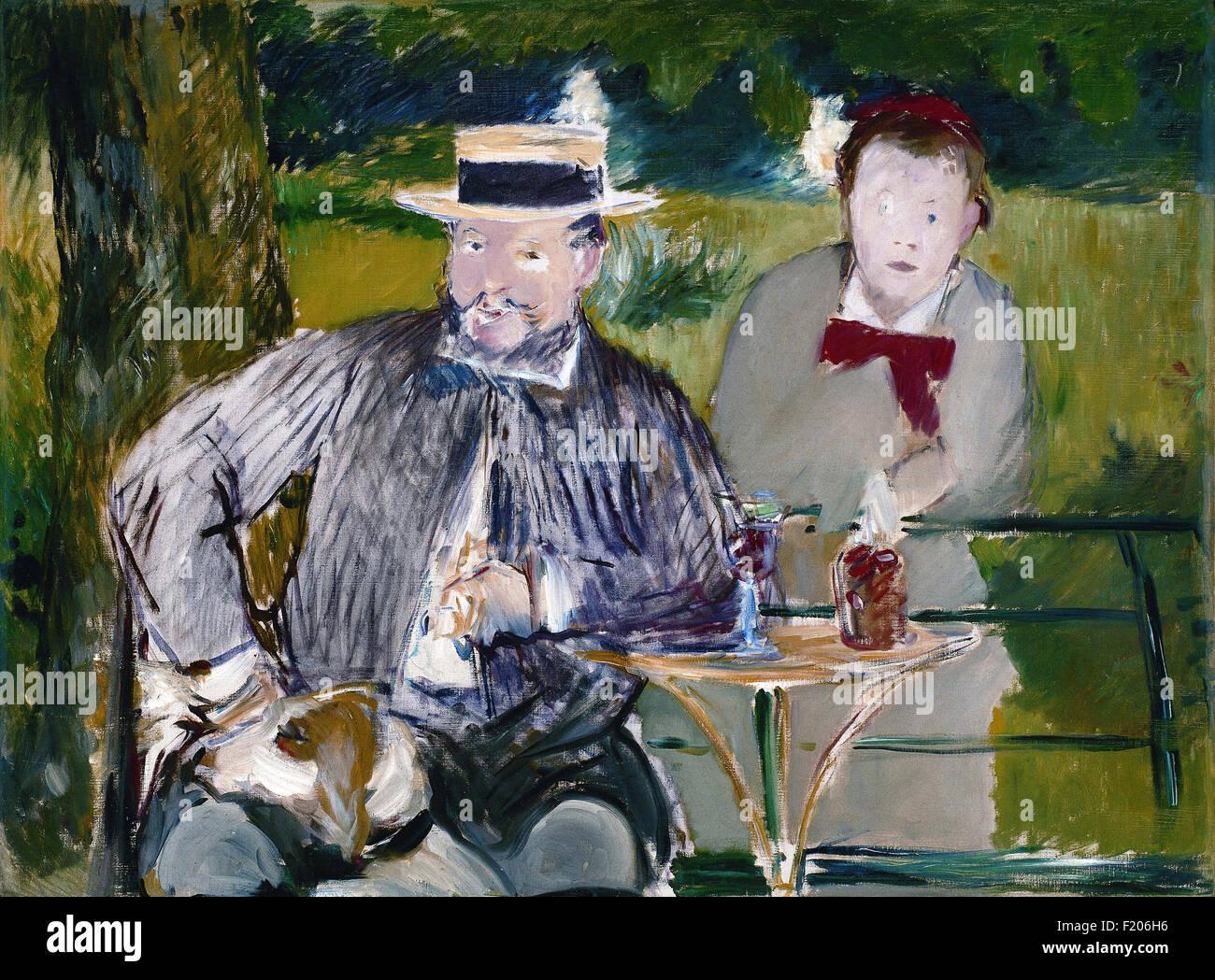 Edouard Manet - Portrait d'Ernest Hoschedé et sa fille Marthe Stock Photo