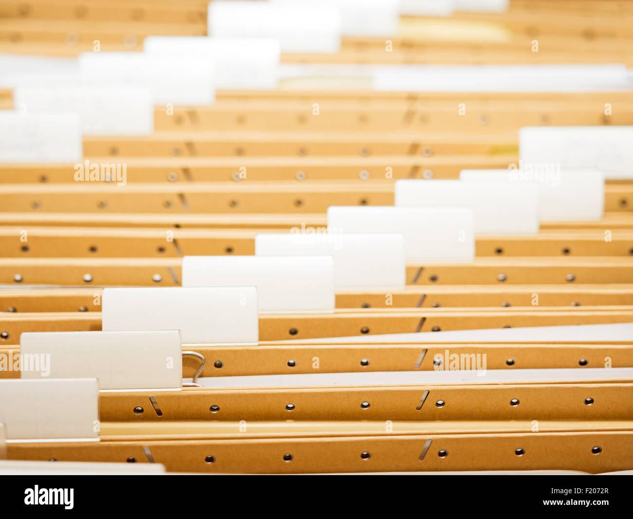 Ordner in  Hängeregistratur Stock Photo
