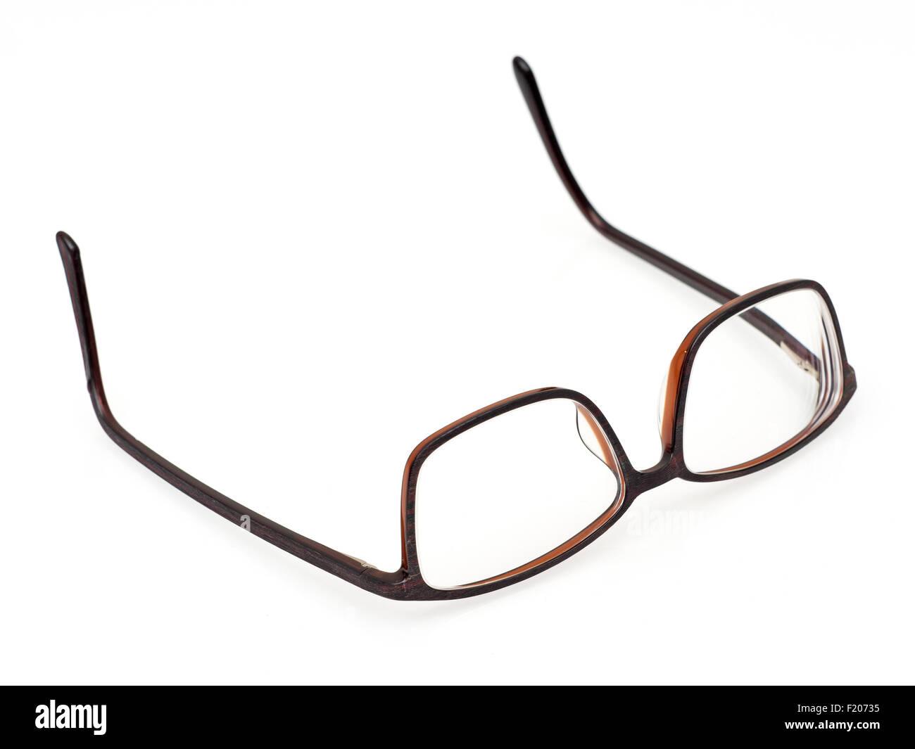 Brille auf weißem Hintergrund - Stock Image