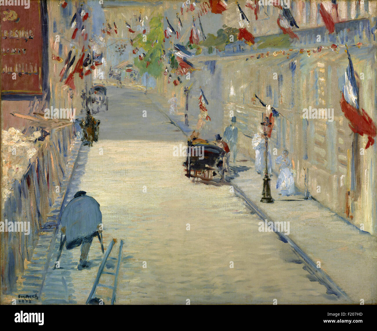 Edouard Manet - The Rue Mosnier with Flags - Stock Image