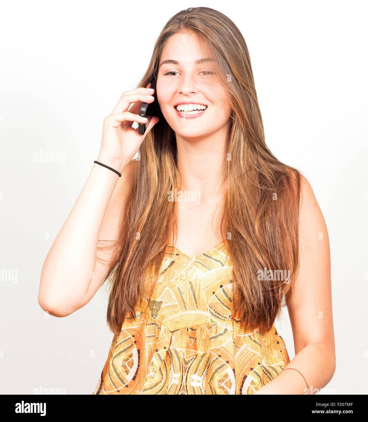 junge Frau telefoniert - Stock Image
