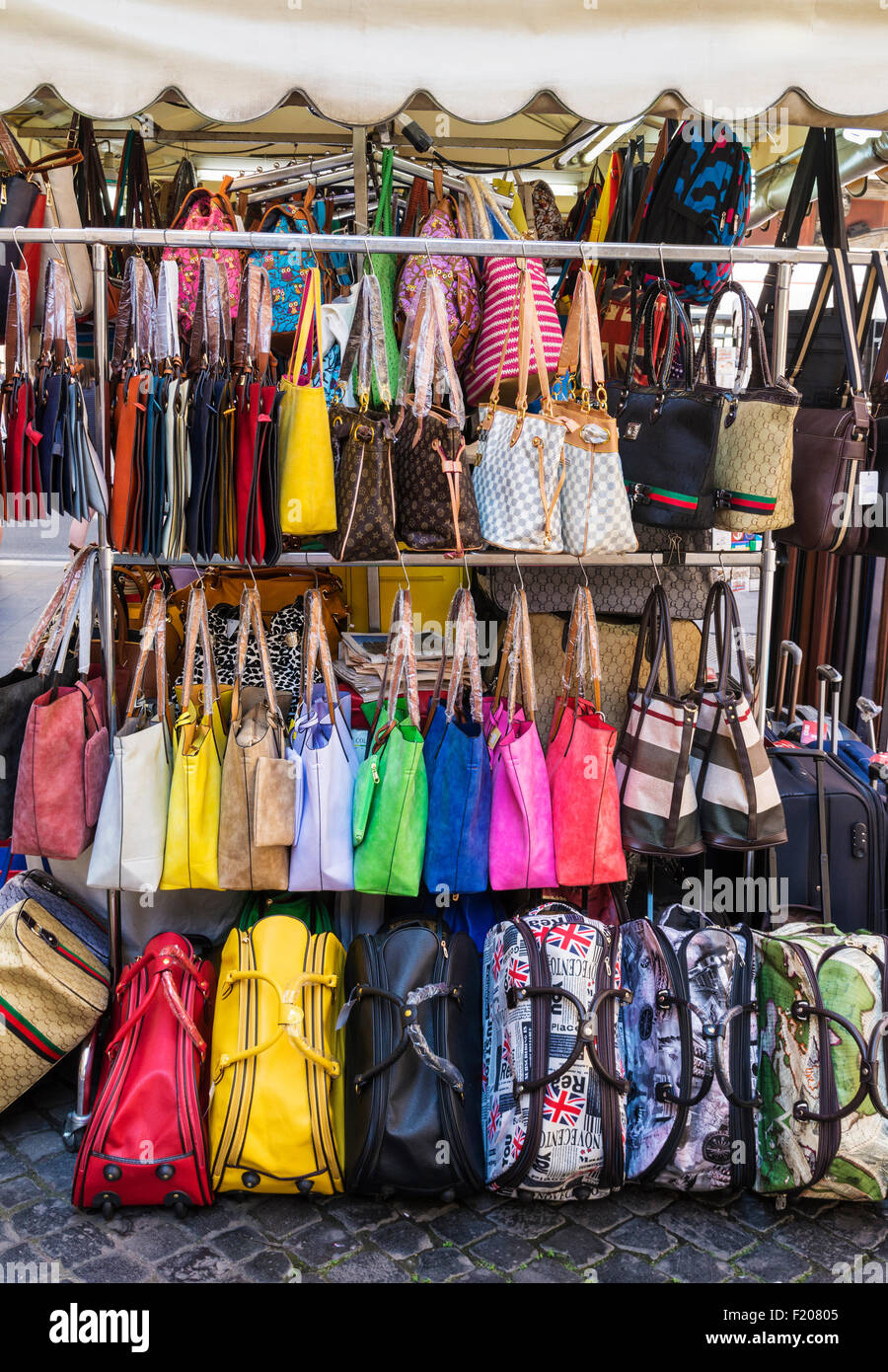070a7fac588 Stand of replica designer bags in a Rome market, Rome, Italy - Stock Image